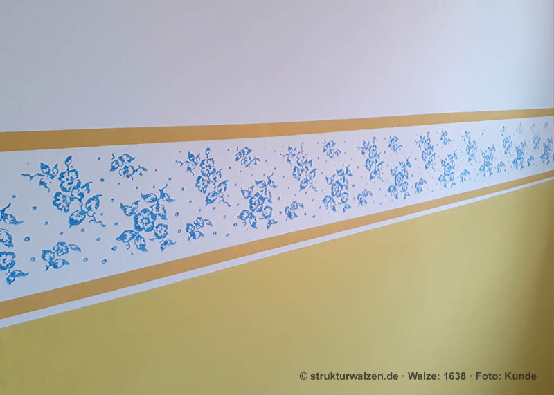 blossom border in yellow and blue