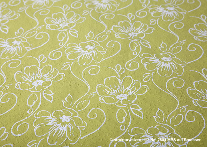 flower patterned on green rough grain wallpaper