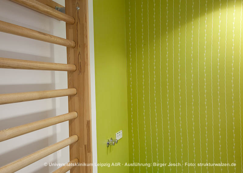 medical practice rooms in green with pattern