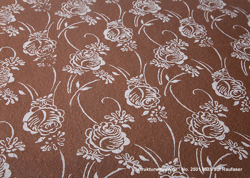 rose pattern rolled on rough grain fibre