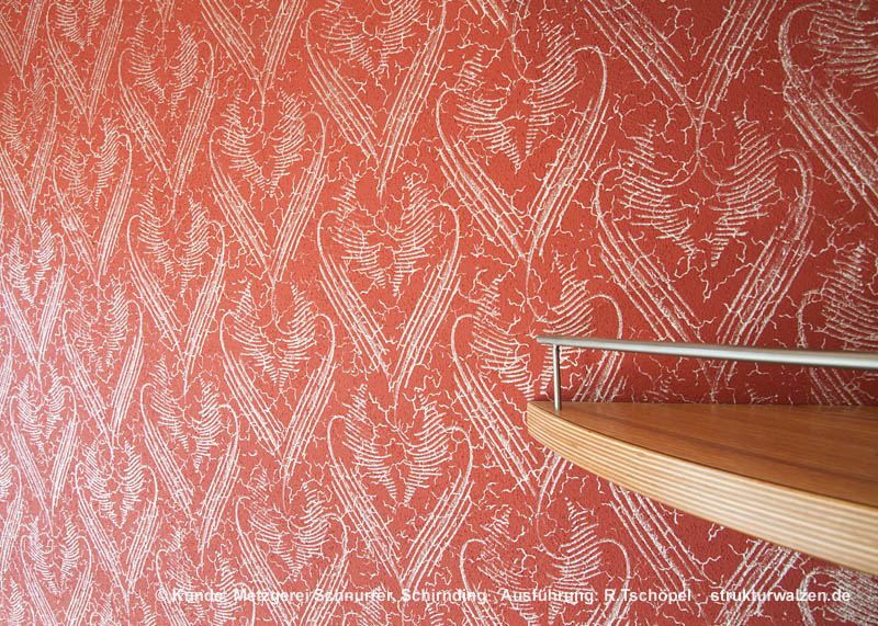 wall design with pattern rollers in butchery